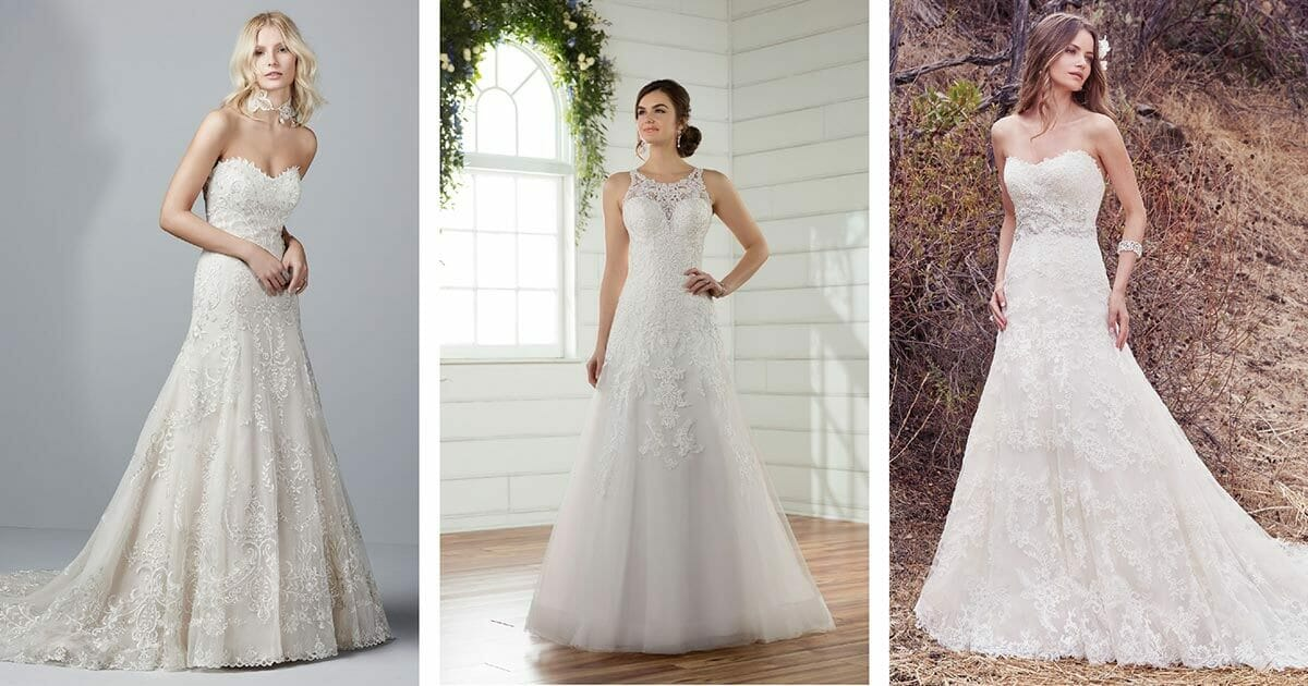Selection of A-line bridal gowns