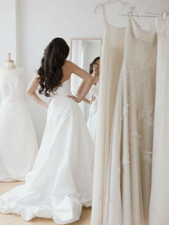 woman-wedding-dress-mirror